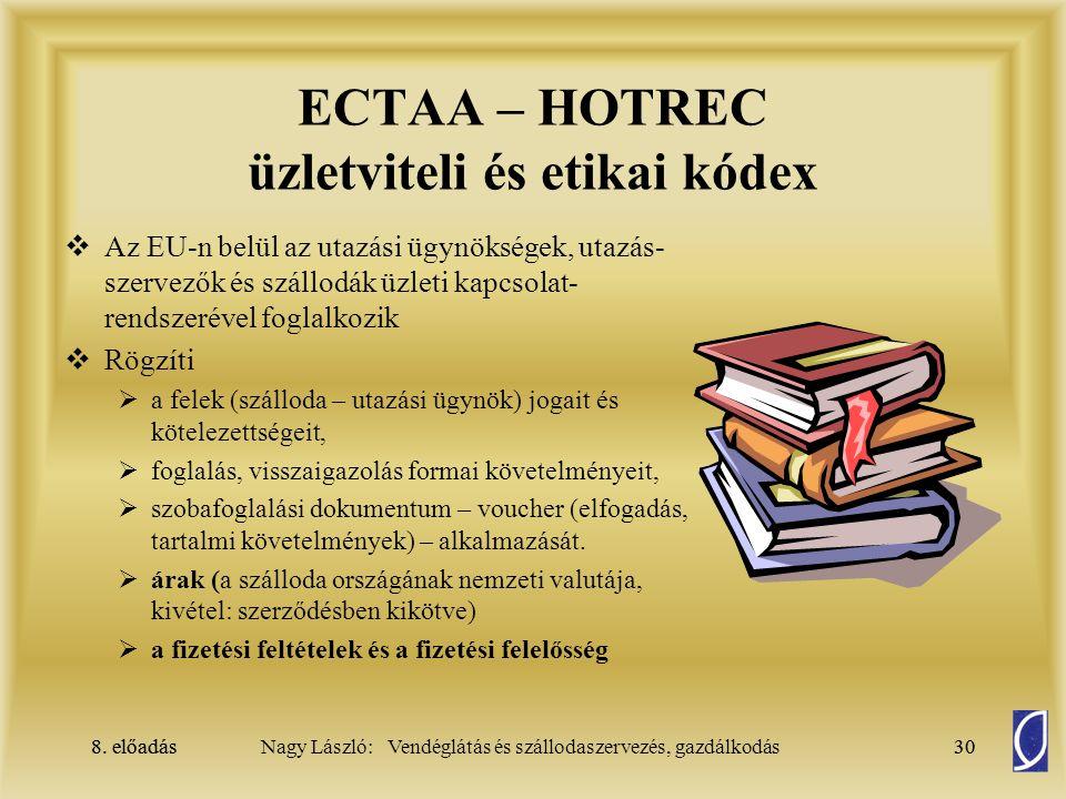 ECTAA – HOTREC üzletviteli és etikai kódex