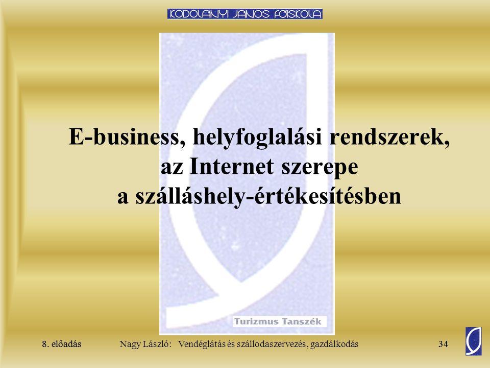 E-business, helyfoglalási rendszerek, az Internet szerepe a szálláshely-értékesítésben