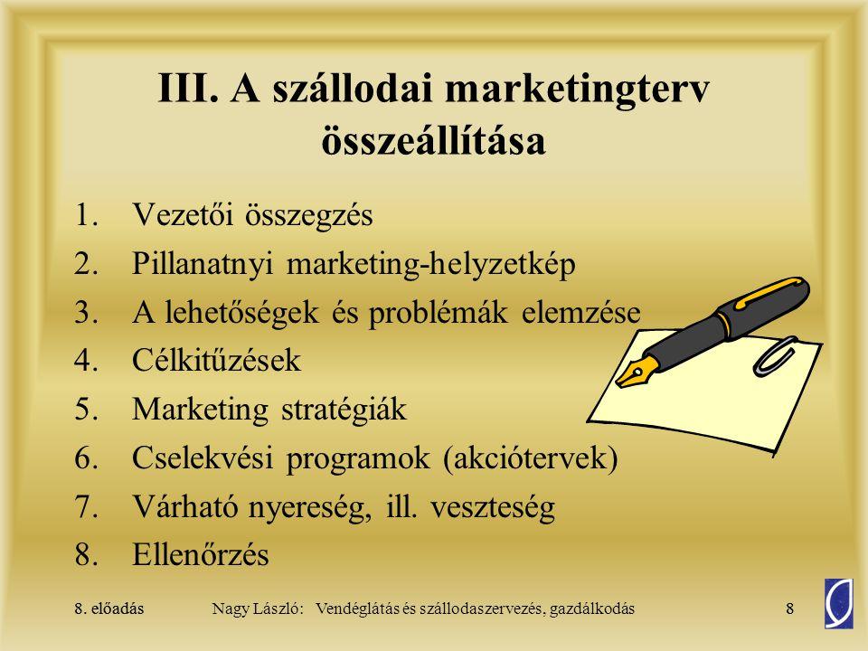 III. A szállodai marketingterv összeállítása