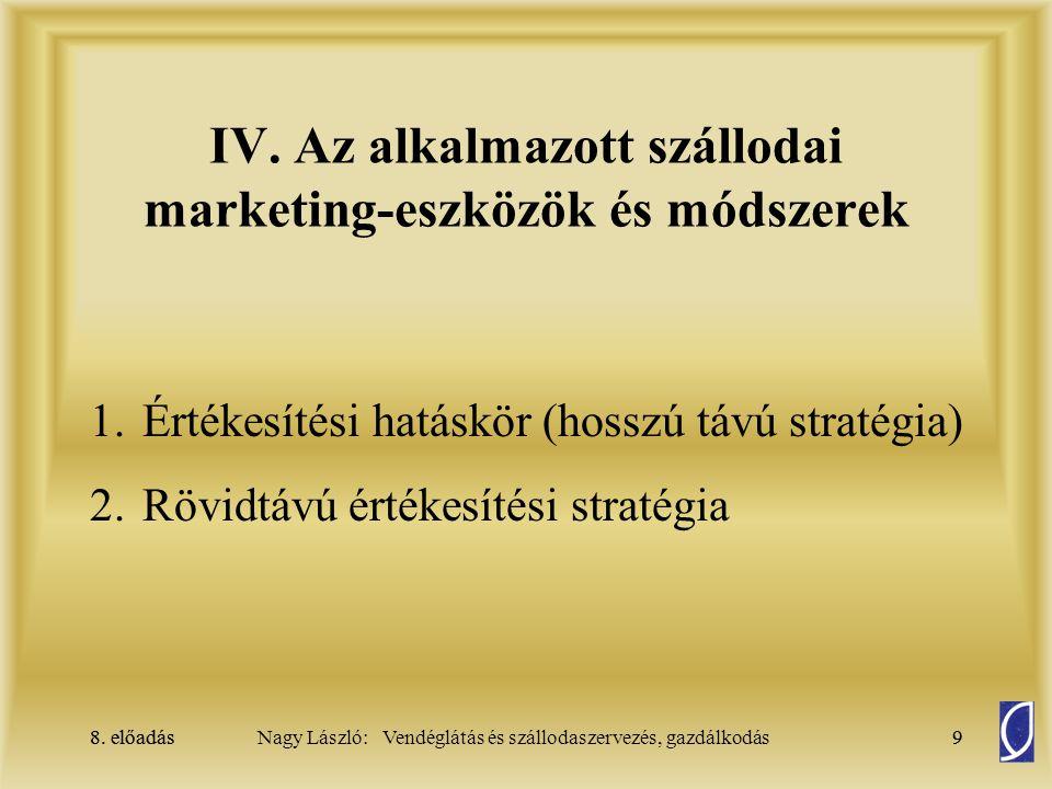 IV. Az alkalmazott szállodai marketing-eszközök és módszerek