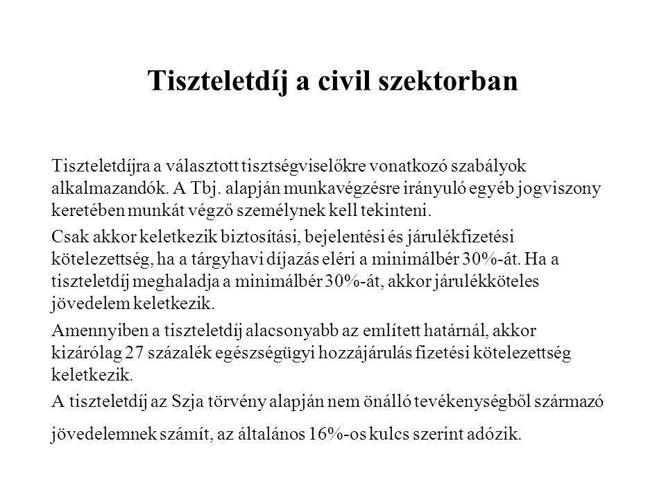 Tiszteletdíj a civil szektorban