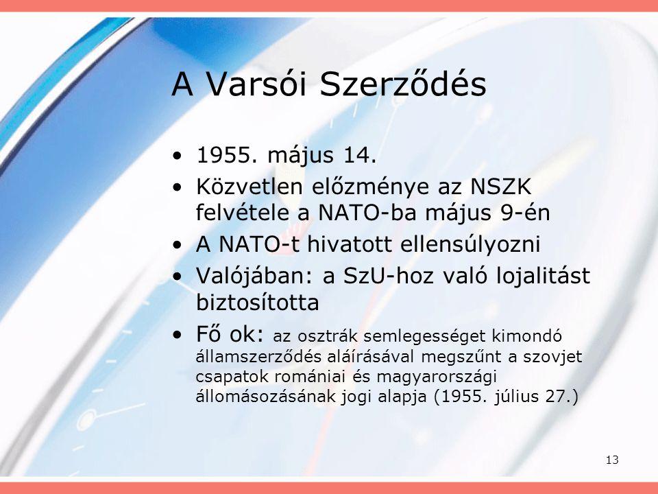 A Varsói Szerződés 1955. május 14.