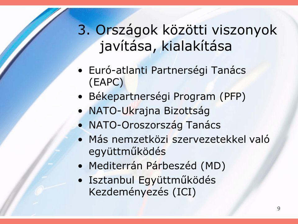 3. Országok közötti viszonyok javítása, kialakítása
