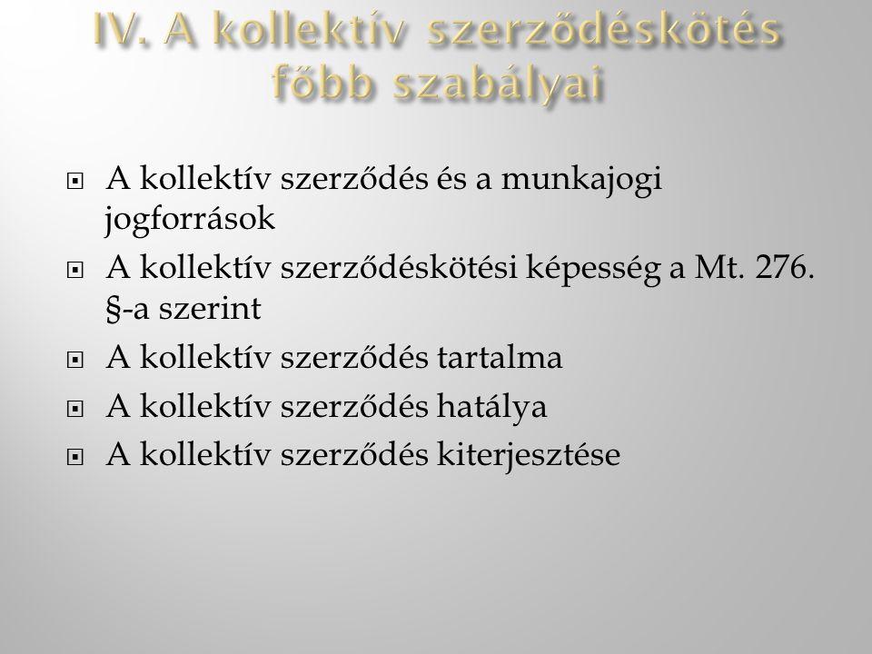 IV. A kollektív szerződéskötés főbb szabályai