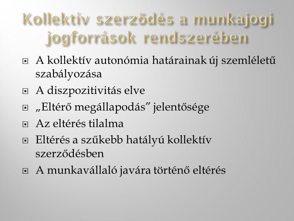 Kollektív szerződés a munkajogi jogforrások rendszerében