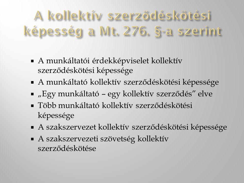 A kollektív szerződéskötési képesség a Mt. 276. §-a szerint