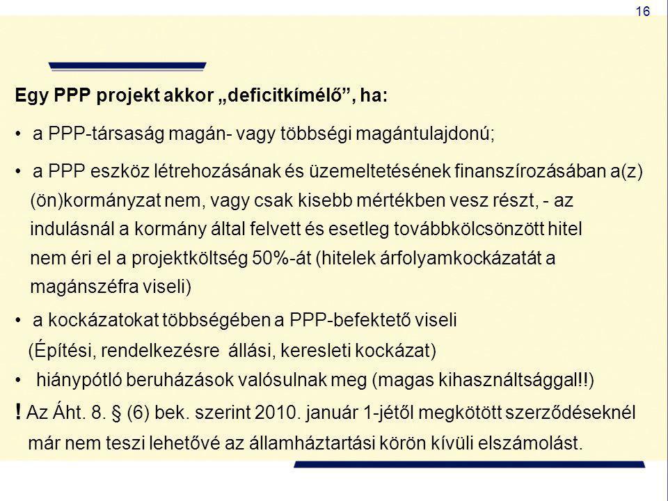 """Egy PPP projekt akkor """"deficitkímélő , ha:"""