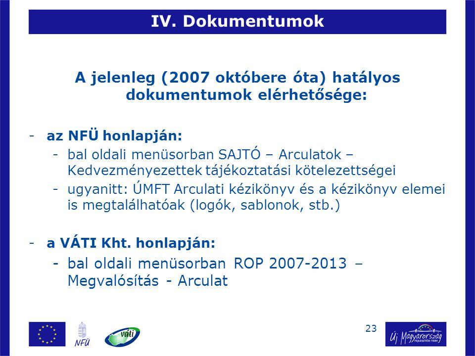 A jelenleg (2007 októbere óta) hatályos dokumentumok elérhetősége: