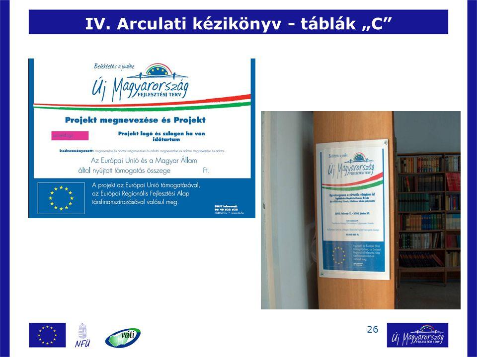 """IV. Arculati kézikönyv - táblák """"C"""
