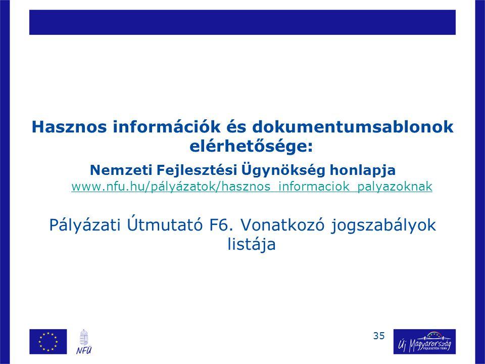 Hasznos információk és dokumentumsablonok elérhetősége: