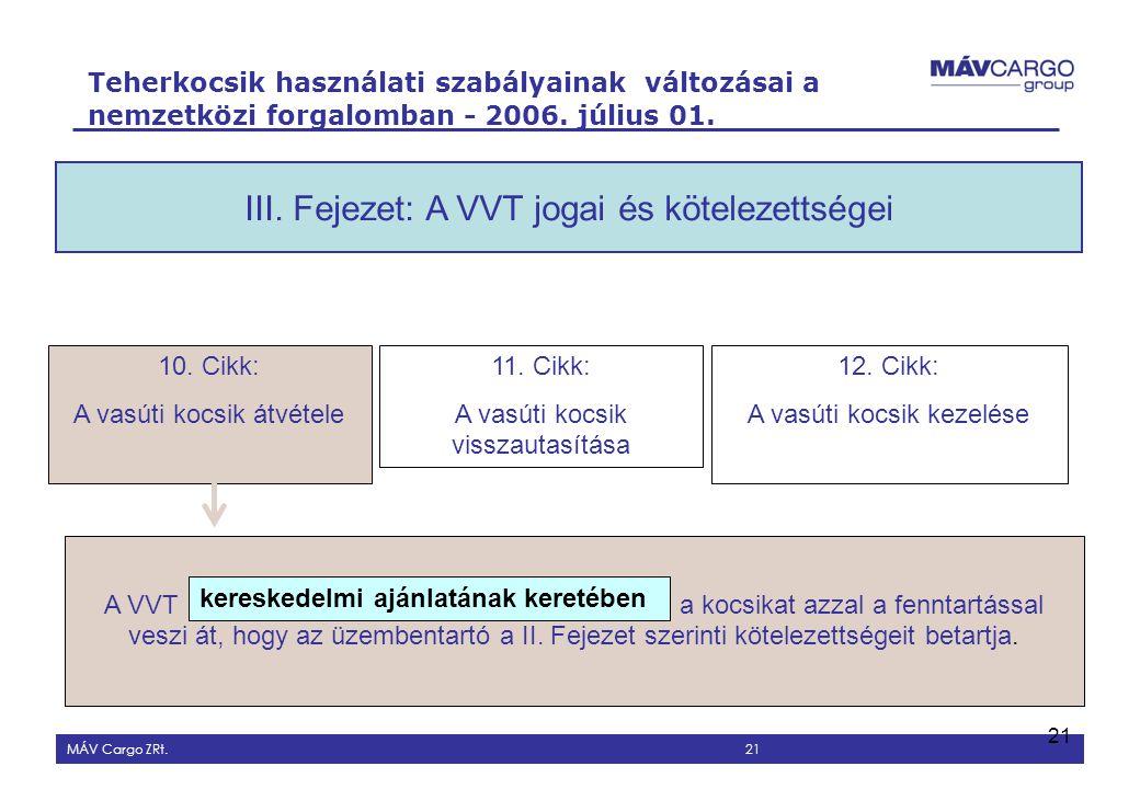 III. Fejezet: A VVT jogai és kötelezettségei