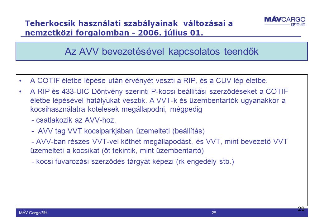 Az AVV bevezetésével kapcsolatos teendők