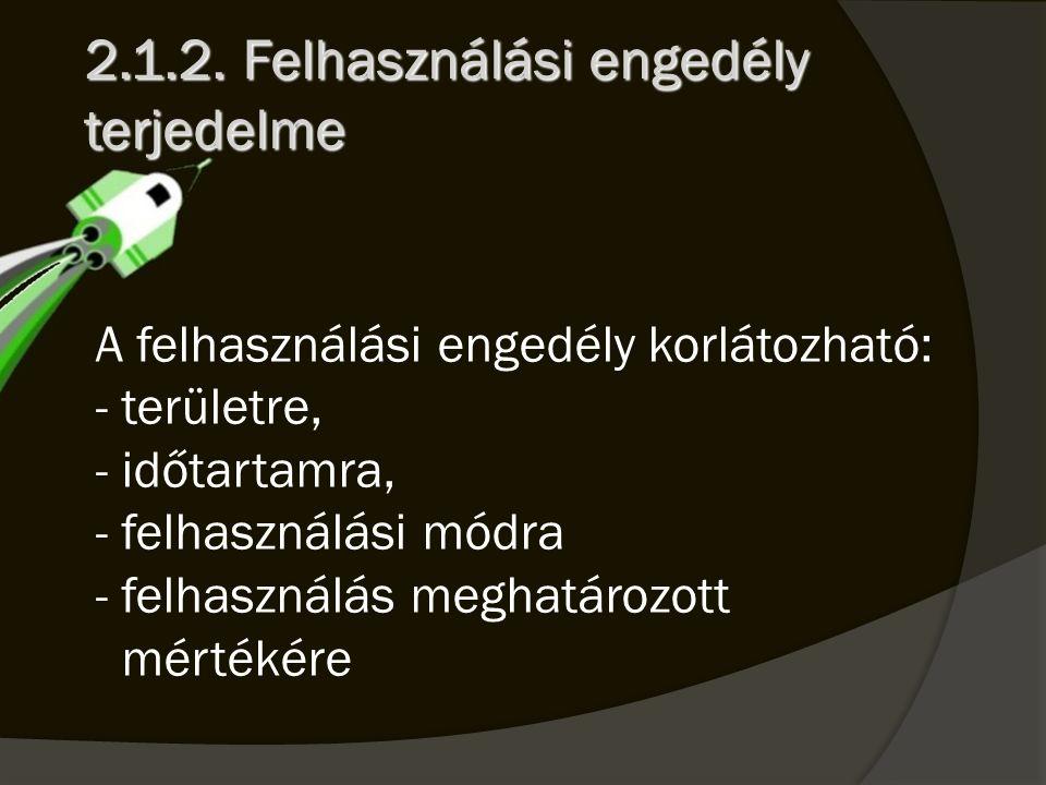 2.1.2. Felhasználási engedély terjedelme