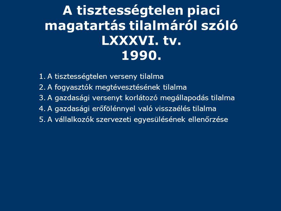A tisztességtelen piaci magatartás tilalmáról szóló LXXXVI. tv. 1990.