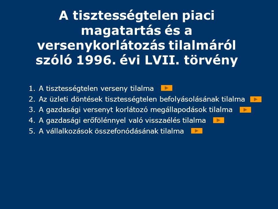 A tisztességtelen piaci magatartás és a versenykorlátozás tilalmáról szóló 1996. évi LVII. törvény