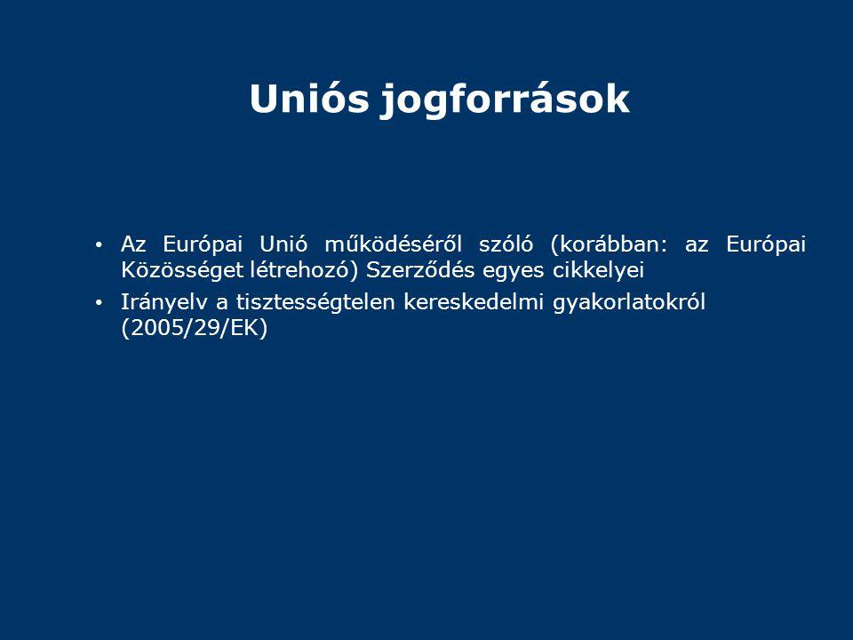 Uniós jogforrások Az Európai Unió működéséről szóló (korábban: az Európai Közösséget létrehozó) Szerződés egyes cikkelyei.