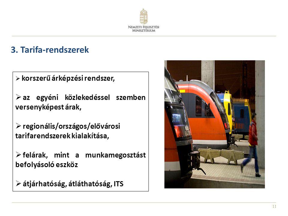 3. Tarifa-rendszerek korszerű árképzési rendszer, az egyéni közlekedéssel szemben versenyképest árak,