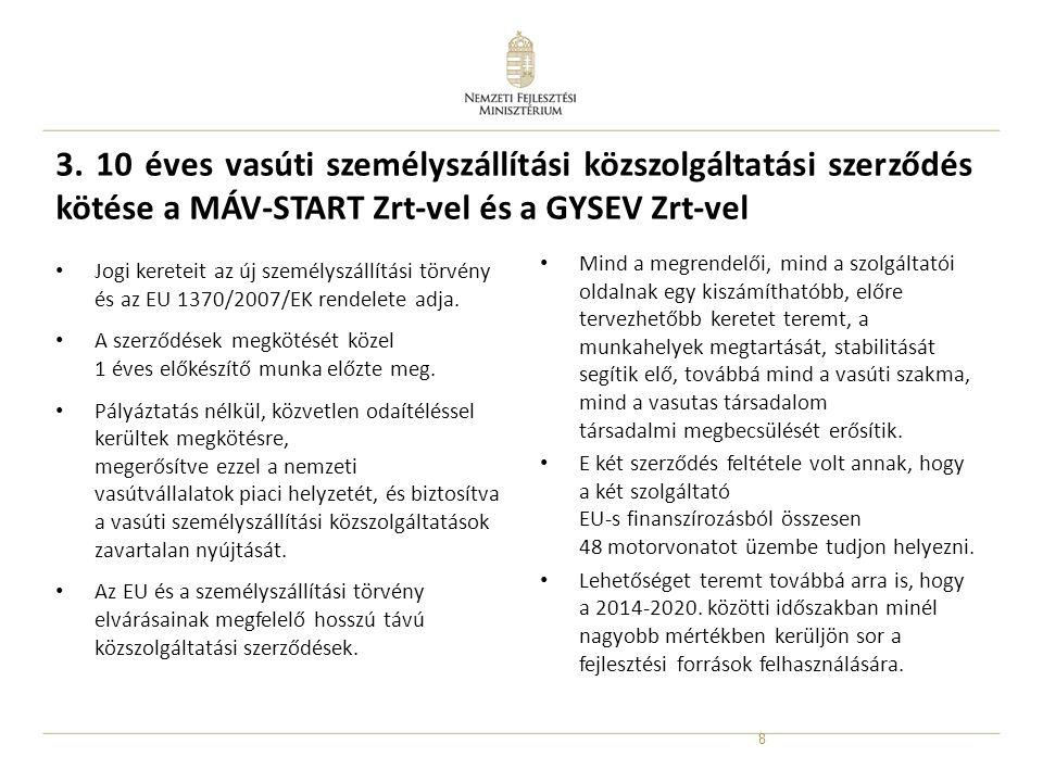 3. 10 éves vasúti személyszállítási közszolgáltatási szerződés kötése a MÁV-START Zrt-vel és a GYSEV Zrt-vel