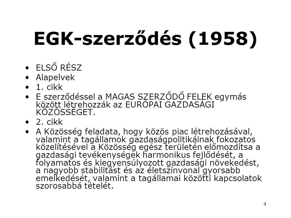 EGK-szerződés (1958) ELSŐ RÉSZ Alapelvek 1. cikk