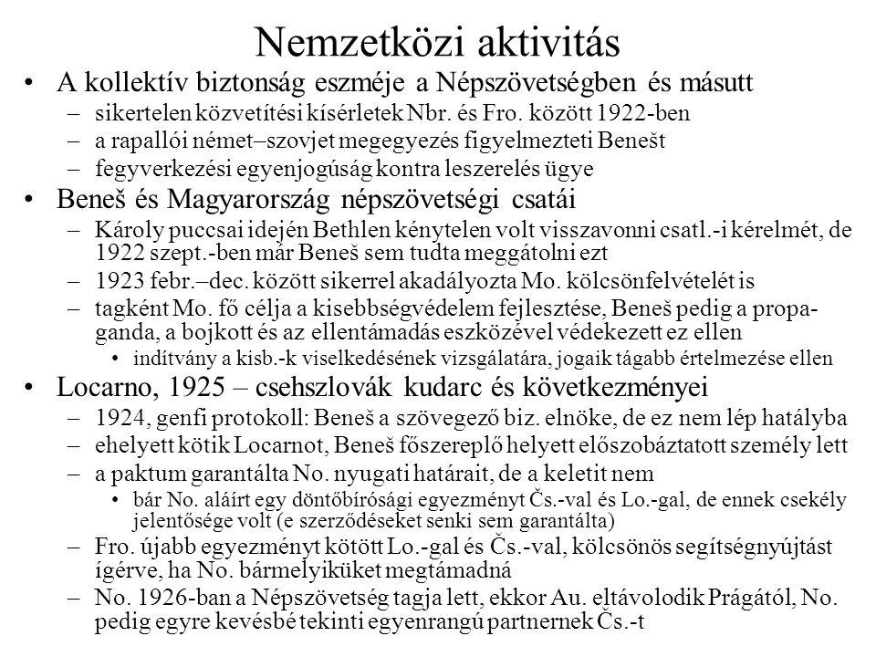 Nemzetközi aktivitás A kollektív biztonság eszméje a Népszövetségben és másutt. sikertelen közvetítési kísérletek Nbr. és Fro. között 1922-ben.