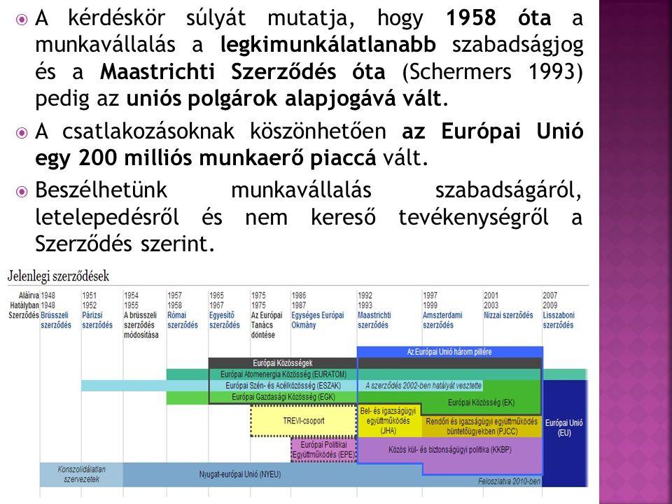 A kérdéskör súlyát mutatja, hogy 1958 óta a munkavállalás a legkimunkálatlanabb szabadságjog és a Maastrichti Szerződés óta (Schermers 1993) pedig az uniós polgárok alapjogává vált.