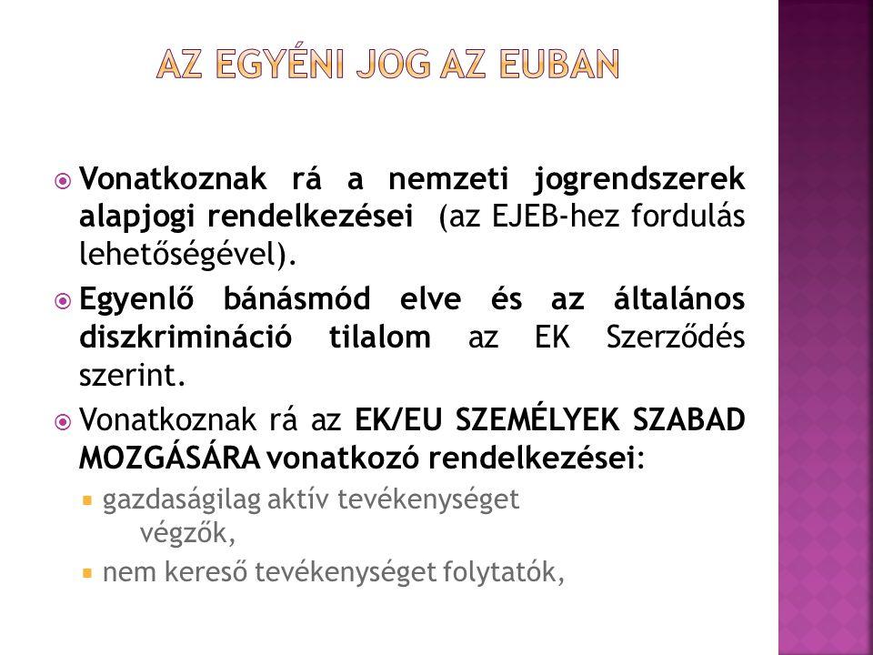 Az egyéni jog az euban Vonatkoznak rá a nemzeti jogrendszerek alapjogi rendelkezései (az EJEB-hez fordulás lehetőségével).