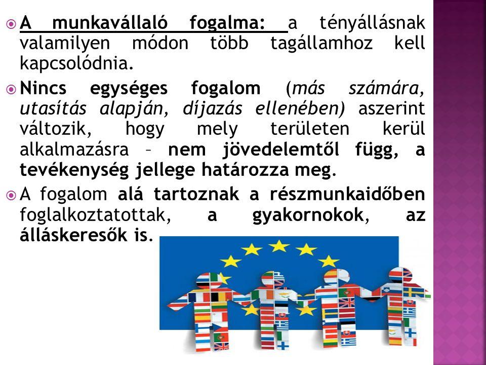 A munkavállaló fogalma: a tényállásnak valamilyen módon több tagállamhoz kell kapcsolódnia.