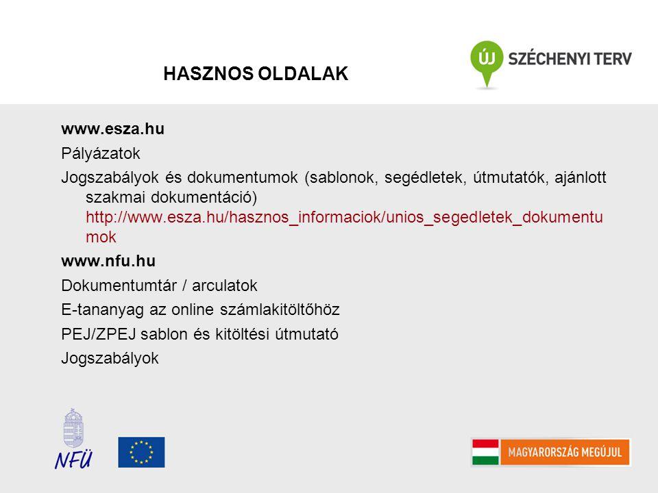 HASZNOS OLDALAK www.esza.hu Pályázatok