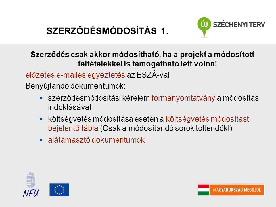 SZERZŐDÉSMÓDOSÍTÁS 1. Szerződés csak akkor módosítható, ha a projekt a módosított feltételekkel is támogatható lett volna!