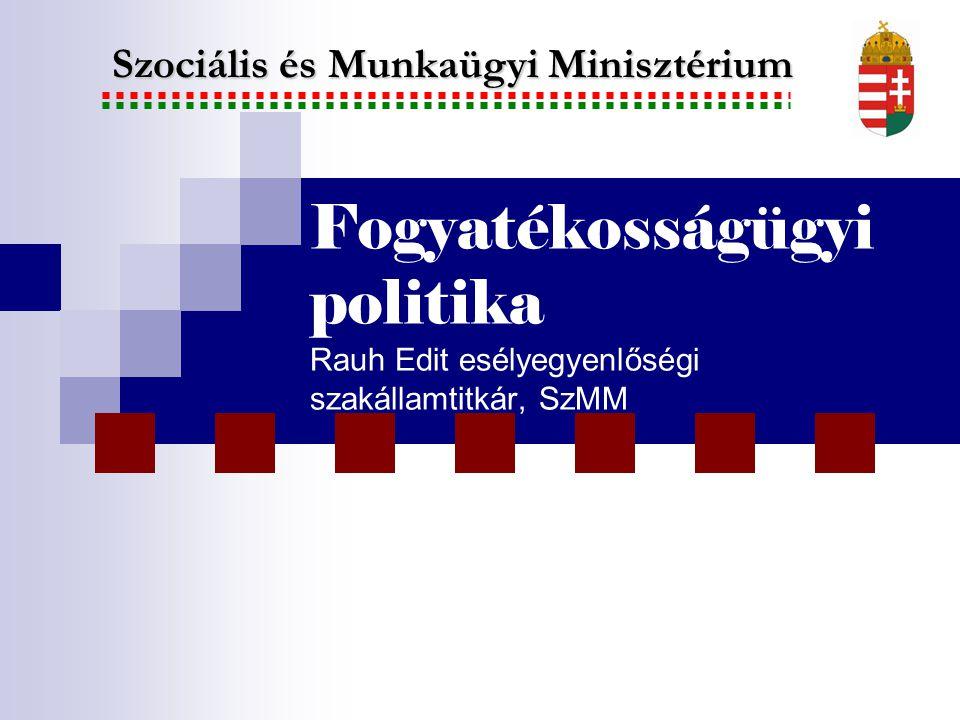 Fogyatékosságügyi politika Rauh Edit esélyegyenlőségi szakállamtitkár, SzMM