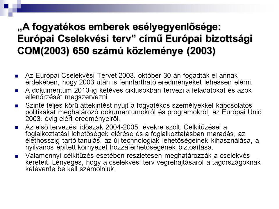 """""""A fogyatékos emberek esélyegyenlősége: Európai Cselekvési terv című Európai bizottsági COM(2003) 650 számú közleménye (2003)"""