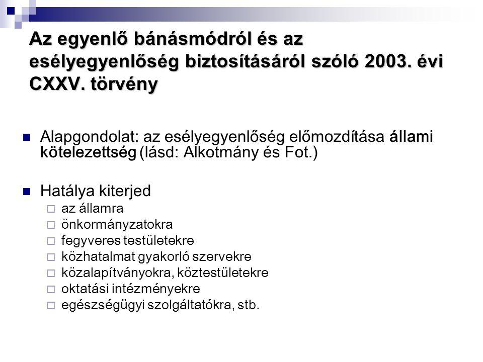 Az egyenlő bánásmódról és az esélyegyenlőség biztosításáról szóló 2003