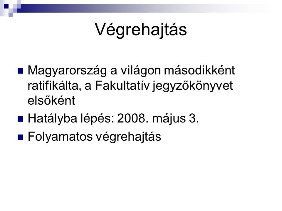 Végrehajtás Magyarország a világon másodikként ratifikálta, a Fakultatív jegyzőkönyvet elsőként. Hatályba lépés: 2008. május 3.