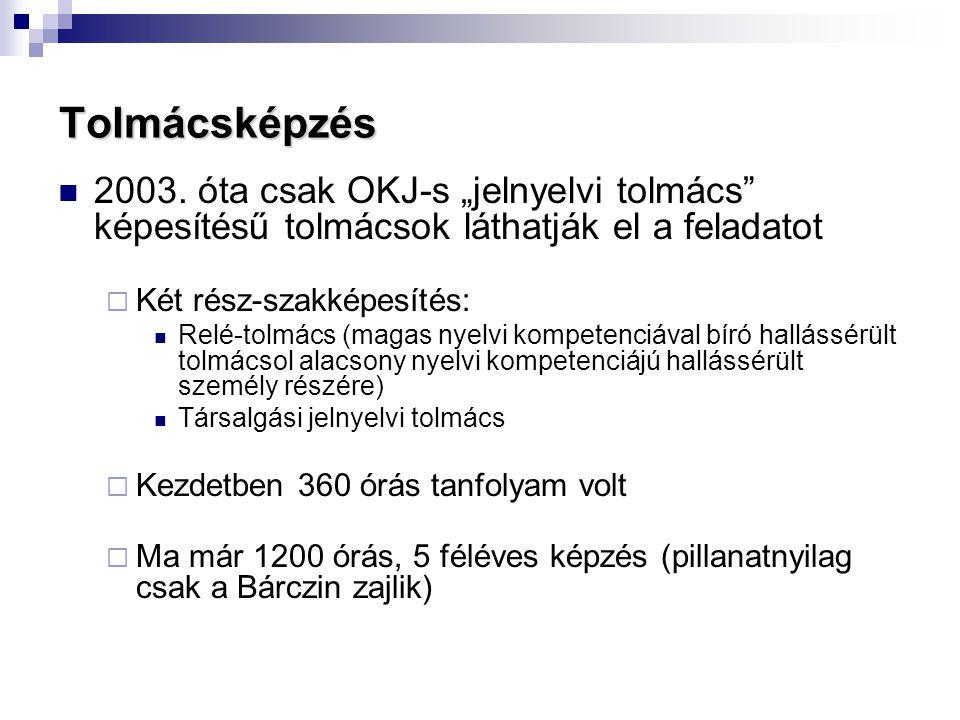 """Tolmácsképzés 2003. óta csak OKJ-s """"jelnyelvi tolmács képesítésű tolmácsok láthatják el a feladatot."""