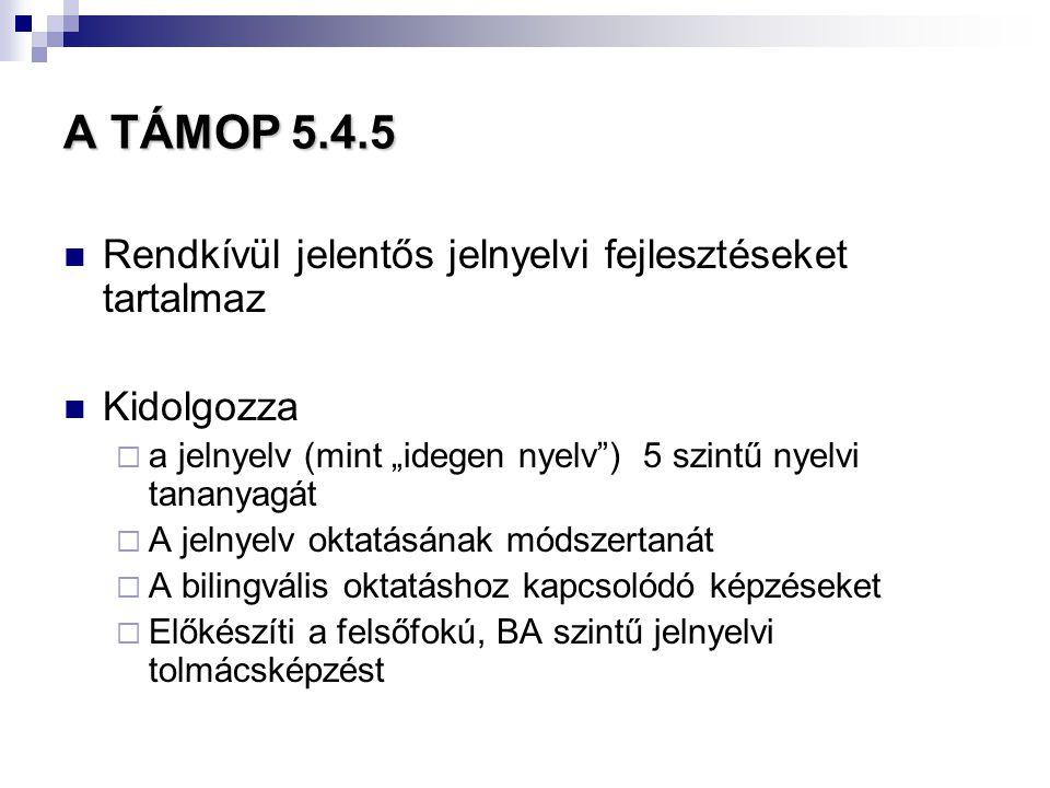 A TÁMOP 5.4.5 Rendkívül jelentős jelnyelvi fejlesztéseket tartalmaz