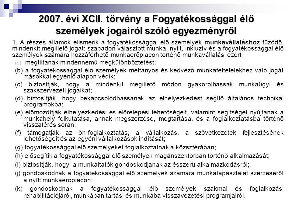 2007. évi XCII. törvény a Fogyatékossággal élő személyek jogairól szóló egyezményről