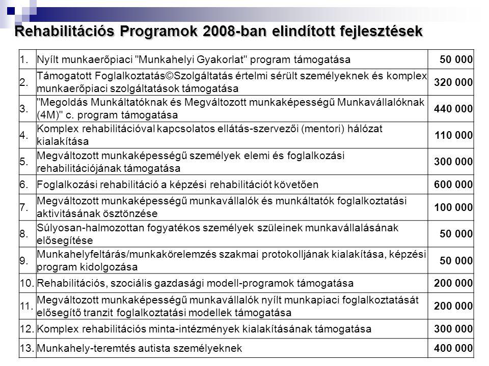 Rehabilitációs Programok 2008-ban elindított fejlesztések