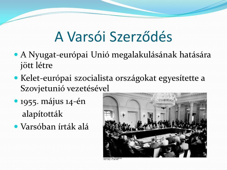 A Varsói Szerződés A Nyugat-európai Unió megalakulásának hatására jött létre.