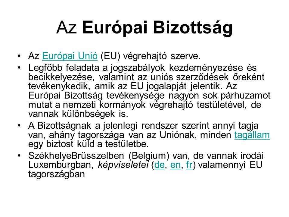 Az Európai Bizottság Az Európai Unió (EU) végrehajtó szerve.