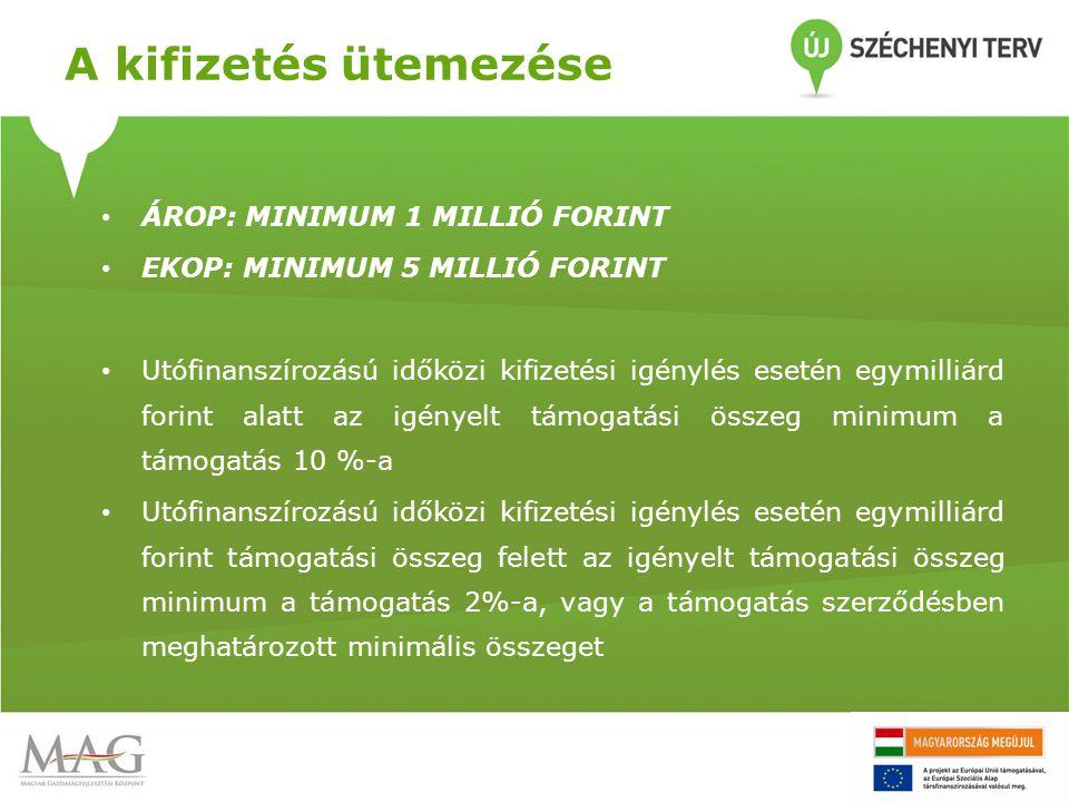 A kifizetés ütemezése ÁROP: MINIMUM 1 MILLIÓ FORINT