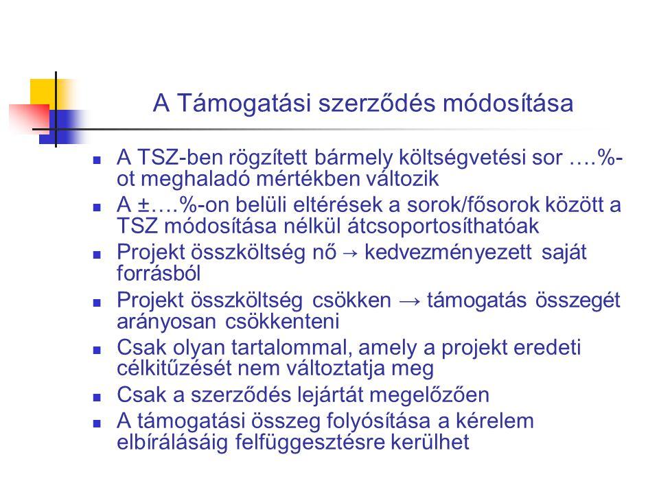 A Támogatási szerződés módosítása