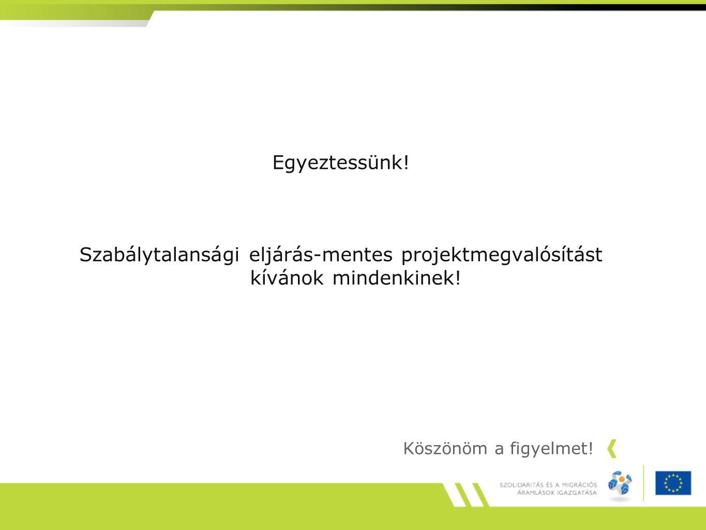 Egyeztessünk. Szabálytalansági eljárás-mentes projektmegvalósítást kívánok mindenkinek.