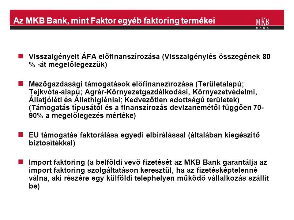 Az MKB Bank, mint Faktor egyéb faktoring termékei