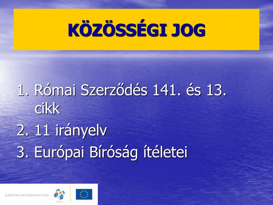 KÖZÖSSÉGI JOG 1. Római Szerződés 141. és 13. cikk 2. 11 irányelv