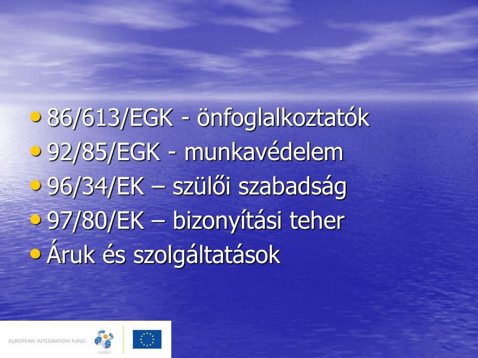 86/613/EGK - önfoglalkoztatók