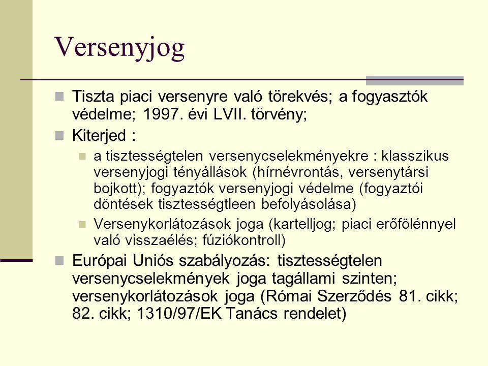 Versenyjog Tiszta piaci versenyre való törekvés; a fogyasztók védelme; 1997. évi LVII. törvény; Kiterjed :
