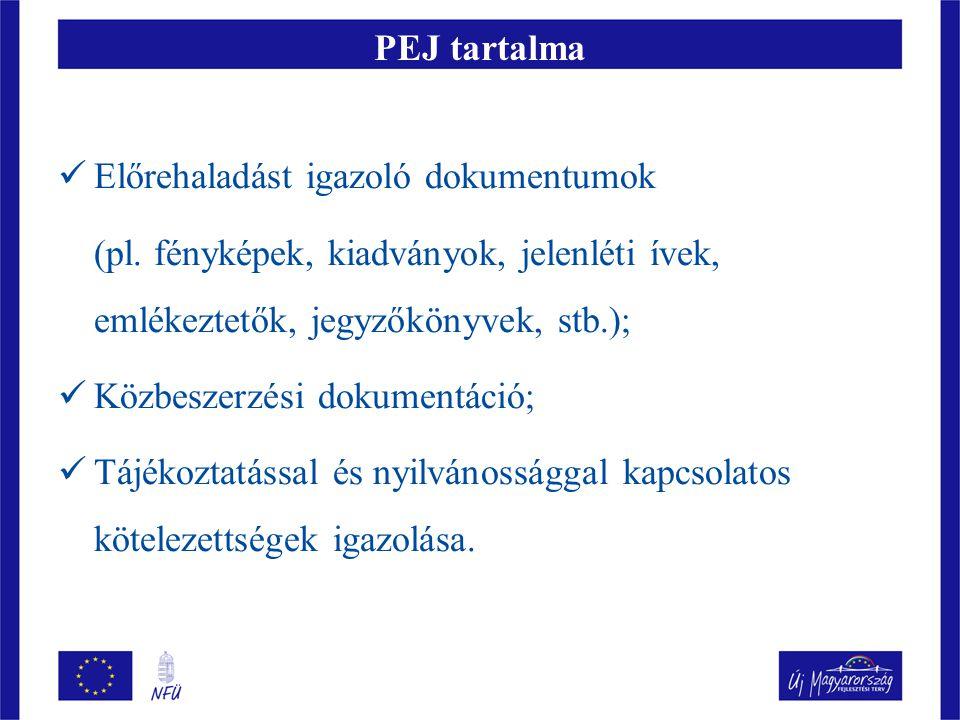 PEJ tartalma Előrehaladást igazoló dokumentumok. (pl. fényképek, kiadványok, jelenléti ívek, emlékeztetők, jegyzőkönyvek, stb.);