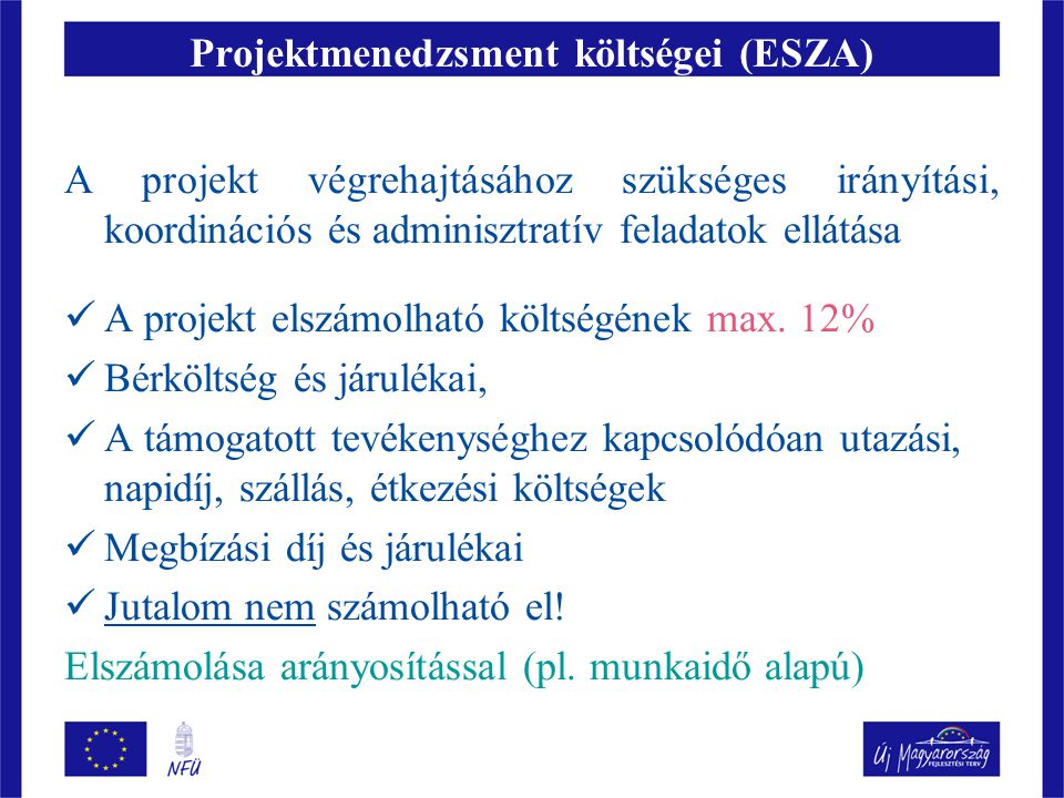 Projektmenedzsment költségei (ESZA)