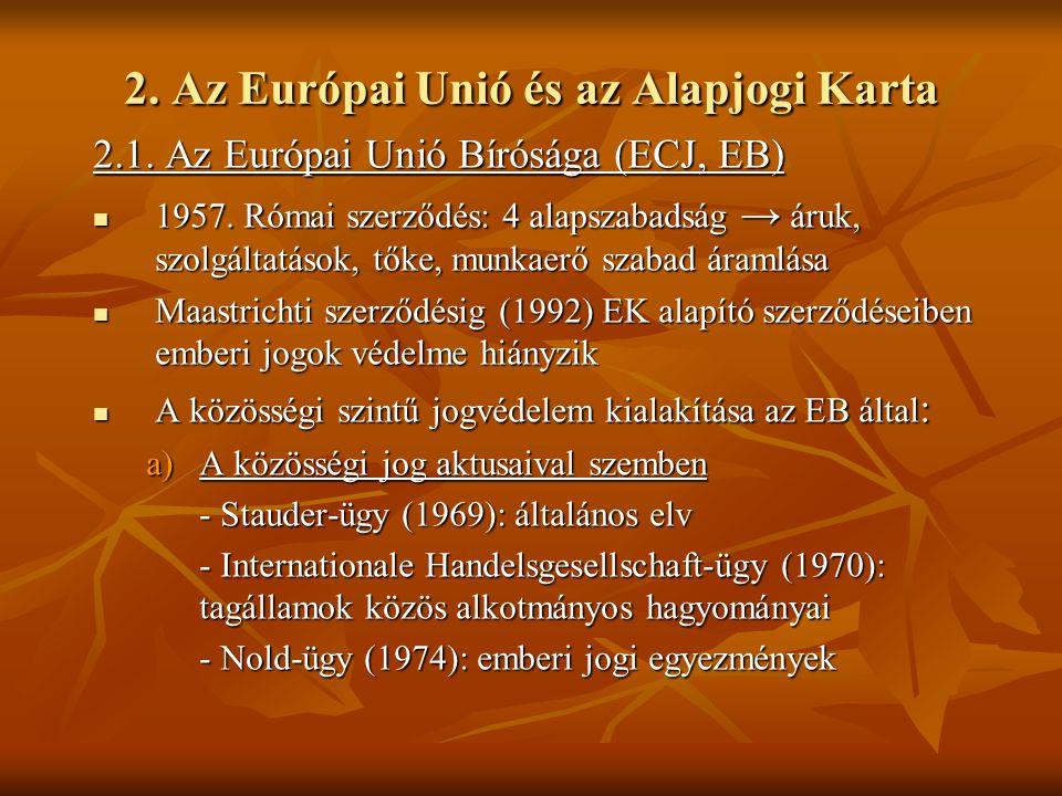 2. Az Európai Unió és az Alapjogi Karta