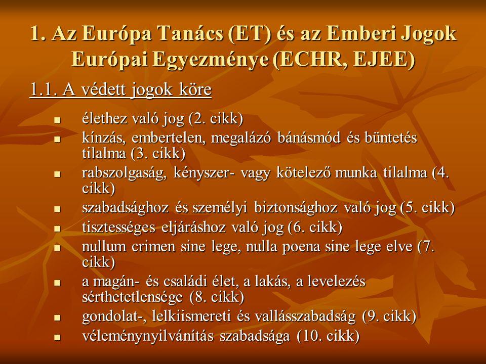 1. Az Európa Tanács (ET) és az Emberi Jogok Európai Egyezménye (ECHR, EJEE)